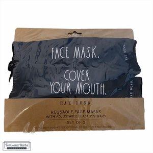 Rae Dunn Adjustable Reusable Face Mask in Black